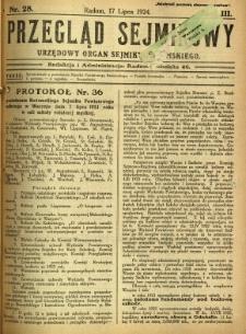 Przegląd Sejmikowy : Urzędowy Organ Sejmiku Radomskiego, 1924, R. 3, nr 28