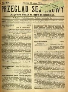 Przegląd Sejmikowy : Urzędowy Organ Sejmiku Radomskiego, 1924, R. 3, nr 30