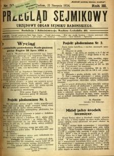 Przegląd Sejmikowy : Urzędowy Organ Sejmiku Radomskiego, 1924, R. 3, nr 33