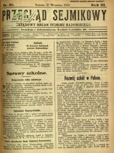 Przegląd Sejmikowy : Urzędowy Organ Sejmiku Radomskiego, 1924, R. 3, nr 36