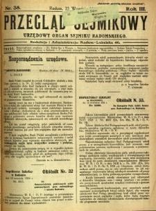 Przegląd Sejmikowy : Urzędowy Organ Sejmiku Radomskiego, 1924, R. 3, nr 38