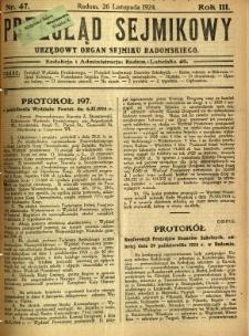 Przegląd Sejmikowy : Urzędowy Organ Sejmiku Radomskiego, 1924, R. 3, nr 47
