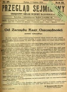 Przegląd Sejmikowy : Urzędowy Organ Sejmiku Radomskiego, 1924, R. 3, nr 48