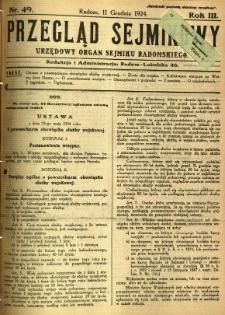 Przegląd Sejmikowy : Urzędowy Organ Sejmiku Radomskiego, 1924, R. 3, nr 49