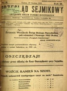Przegląd Sejmikowy : Urzędowy Organ Sejmiku Radomskiego, 1924, R. 3, nr 51