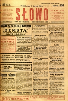 Słowo, 1923, R. 2, nr 139