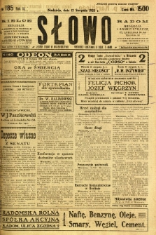 Słowo, 1923, R. 2, nr 185