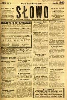 Słowo, 1923, R. 2, nr 186