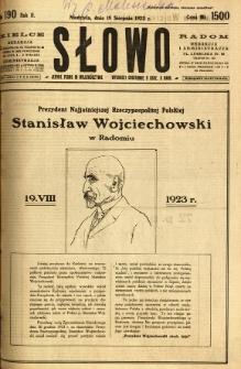 Słowo, 1923, R. 2, nr 190