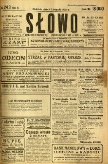 Słowo, 1923, R. 2, nr 243