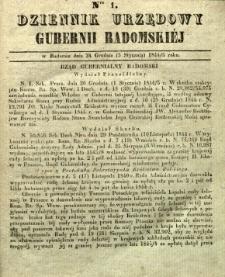 Dziennik Urzędowy Gubernii Radomskiej, 1845, nr 1