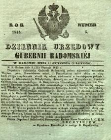 Dziennik Urzędowy Gubernii Radomskiej, 1845, nr 5