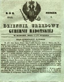 Dziennik Urzędowy Gubernii Radomskiej, 1845, nr 8