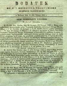 Dziennik Urzędowy Gubernii Radomskiej, 1845, nr 8, dod. I