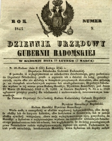 Dziennik Urzędowy Gubernii Radomskiej, 1845, nr 9