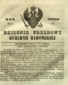 Dziennik Urzędowy Gubernii Radomskiej, 1845, nr 11