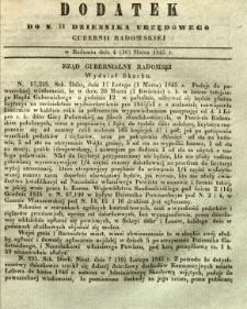 Dziennik Urzędowy Gubernii Radomskiej, 1845, nr 11, dod. I