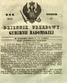 Dziennik Urzędowy Gubernii Radomskiej, 1845, nr 12
