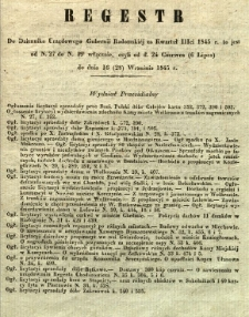 Regestr do Dziennika Urzędowego Gubernii Radomskiej za kwartał IIIci 1845 r. to jest: od N. 27 do N. 39 włącznie