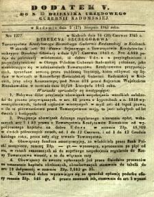Dziennik Urzędowy Gubernii Radomskiej, 1845, nr 33, dod. V