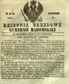 Dziennik Urzędowy Gubernii Radomskiej, 1845, nr 34