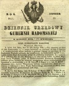 Dziennik Urzędowy Gubernii Radomskiej, 1845, nr 15