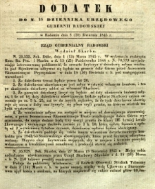 Dziennik Urzędowy Gubernii Radomskiej, 1845, nr 16, dod. I