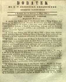 Dziennik Urzędowy Gubernii Radomskiej, 1845, nr 18, dod. III