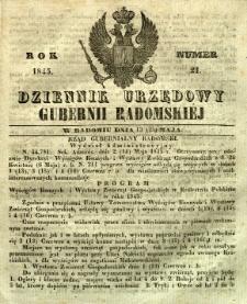 Dziennik Urzędowy Gubernii Radomskiej, 1845, nr 21