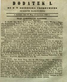Dziennik Urzędowy Gubernii Radomskiej, 1845, nr 23, dod. I