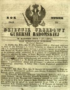 Dziennik Urzędowy Gubernii Radomskiej, 1845, nr 29
