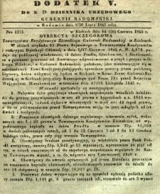 Dziennik Urzędowy Gubernii Radomskiej, 1845, nr 29, dod. V