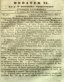Dziennik Urzędowy Gubernii Radomskiej, 1845, nr 29, dod. VI
