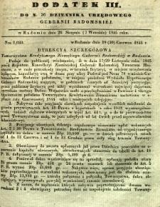 Dziennik Urzędowy Gubernii Radomskiej, 1845, nr 36, dod. III