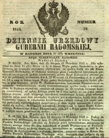 Dziennik Urzędowy Gubernii Radomskiej, 1845, nr 39