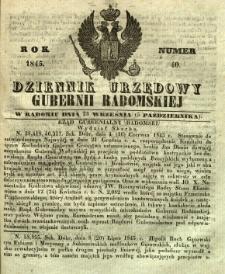 Dziennik Urzędowy Gubernii Radomskiej, 1845, nr 40