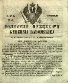 Dziennik Urzędowy Gubernii Radomskiej, 1845, nr 43
