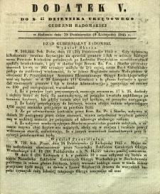 Dziennik Urzędowy Gubernii Radomskiej, 1845, nr 45, dod. V