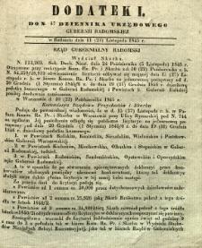 Dziennik Urzędowy Gubernii Radomskiej, 1845, nr 47, dod. I