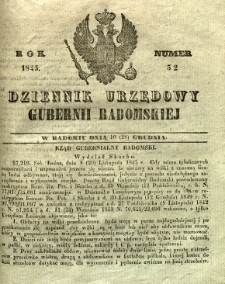 Dziennik Urzędowy Gubernii Radomskiej, 1845, nr 52