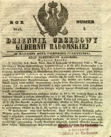 Dziennik Urzędowy Gubernii Radomskiej, 1846, nr 2