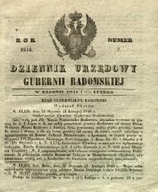 Dziennik Urzędowy Gubernii Radomskiej, 1846, nr 7