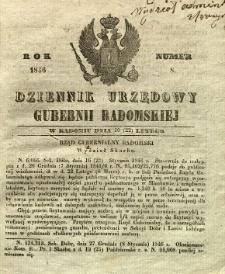 Dziennik Urzędowy Gubernii Radomskiej, 1846, nr 8