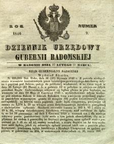 Dziennik Urzędowy Gubernii Radomskiej, 1846, nr 9