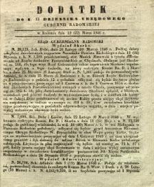 Dziennik Urzędowy Gubernii Radomskiej, 1846, nr 12, dod.