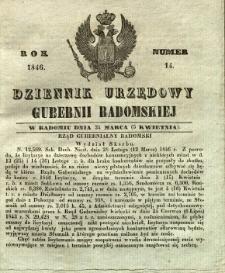 Dziennik Urzędowy Gubernii Radomskiej, 1846, nr 14