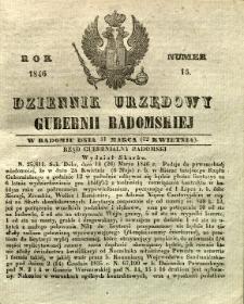 Dziennik Urzędowy Gubernii Radomskiej, 1846, nr 15