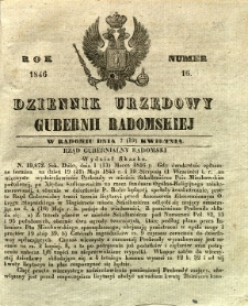 Dziennik Urzędowy Gubernii Radomskiej, 1846, nr 16
