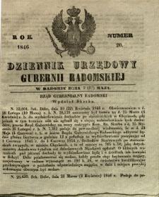 Dziennik Urzędowy Gubernii Radomskiej, 1846, nr 20