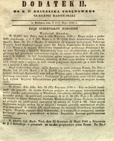 Dziennik Urzędowy Gubernii Radomskiej, 1846, nr 20, dod. II